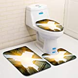 MTSJTliangwan Home Bathroom 3 Piece Sets, Included Bath Area Rug+Contour Mat+Lid Toilet Seat Cover Financial District NYC Flannel Carpet