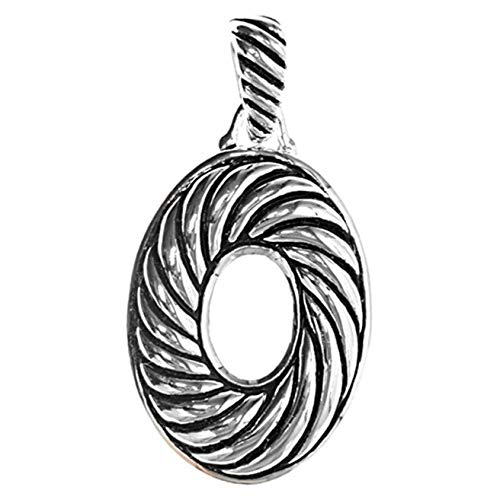 Pendant .925 Sterling Silver Swirl Oval Charm Vintage Crafting Pendant Jewelry Making Supplies - DIY for Necklace Bracelet Accessories by CharmingSS (Sterling Silver Oval Swirls)