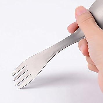 SODIAL Utensilios de cocina Senderismo Picnic Camping Al aire libre Titanio Puro Tenedor-cuchara Mochila Cuchara Tenedor