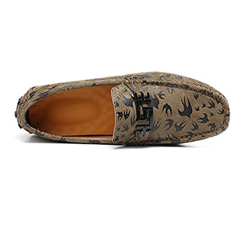 EU Caqui Penny Negro Cuero Holgazanes Mocassins Ligeros de Hombres Lovers Color Vamp shoes conducción tamaño de Los 41 impresión Genuino Meimei Boat de UY1qBwpf