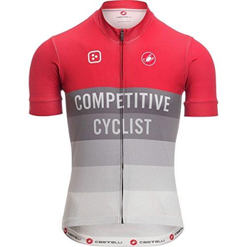 原油詳細な手荷物Castelli Competitive Cyclist Club Jersey – Men 's Red/グレー、S