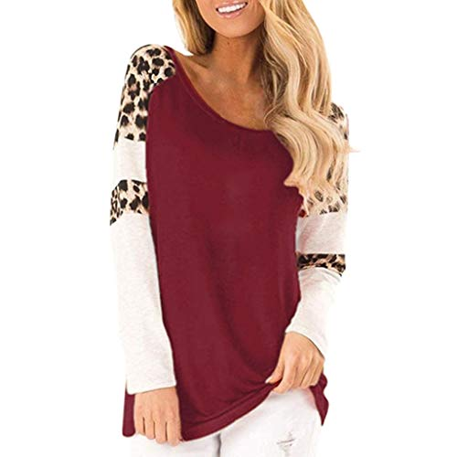 Women Leopard Print Long Sleeve t Shirt Splicing Blouses Casual Tops Patchwork Pullovers Wine