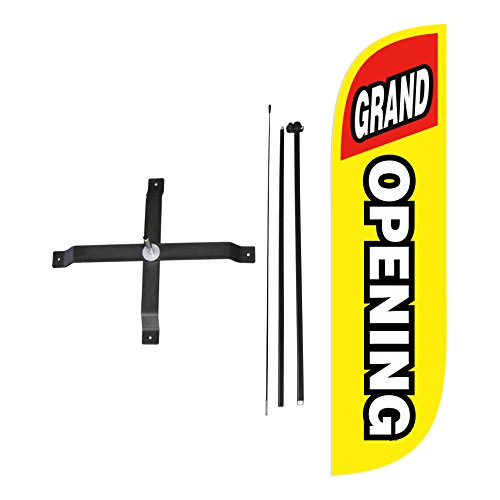 LookOurWay Grand Opening Yellow & Red Feather Flag Complete Set with Poles & X-Stand, 5-Feet (Outdoor Opening Banner)