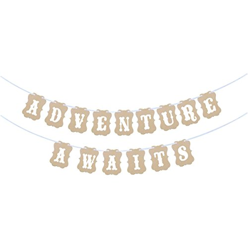 Anroll Adventure Awaits Banner for Baby Shower Party, Travel Themed Party and Wedding Party (Adventure Awaits)