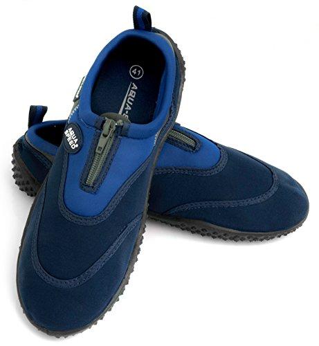 Aqua Speed Set - Aqua-Schuhe + Mikrofaserhandtuch | Damen | Herren | Kinder | Jugendliche | Poolschuhe | Badeschuhe | Neopren MODELL 4B - Navy / Blau