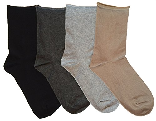 K. Bell Women's Relaxed Roll Top Crew Socks, 4 Pair (Black, Gray, Khaki)