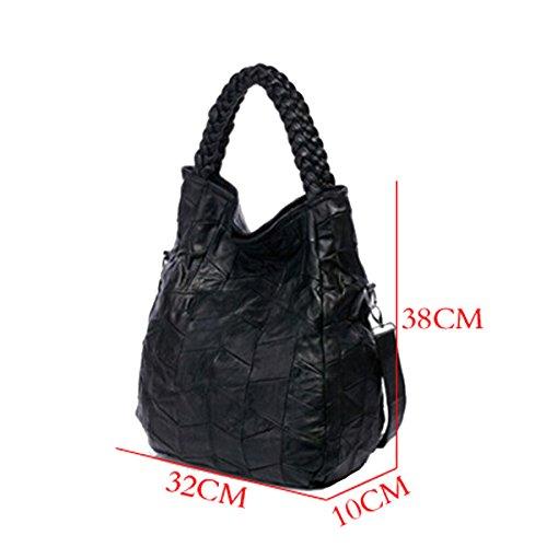 Win8Fong piel de cordero de la mujer Patch–Bolso bandolera de piel bolso de mano negro