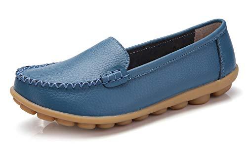 Women's Flat VenusCelia Walking Concise Loafer Blue Office 1w4qFa6