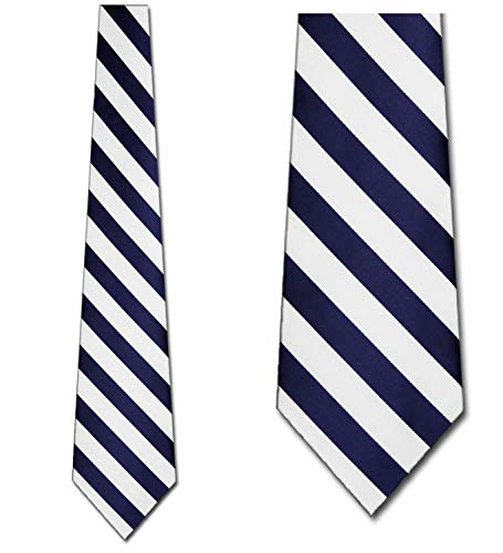 (Mens College Rep Stripes Navy and White Striped Ties)