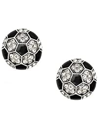 Soccer Earrings Studs Crystal Rhinestone Post Silver 1/2 inch by Kenz Laurenz