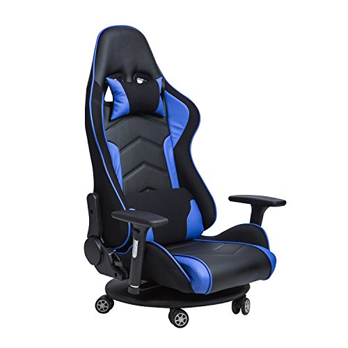 LCH Ergonomic Racing Gaming & Floor Chair,-Back Lumbar Support, Reclining Back Lock Mechanism,Adjustable Headrest,Movable Seat Base, E-Sports High Back Ergonomic Bonded Leather Chair