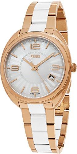 Fendi Momento Women's 34mm White Face Rose Gold Stainless Steel Ceramic Swiss Fendi Watch Women - Cheap Best Sunglasses Reddit