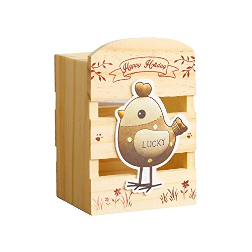Baidercor Lucky Chick Pen Holder Wooden Pencil Container