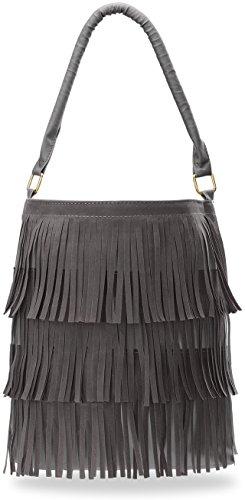 praktische Handtasche Damentasche Beutel Shopper Bag mit Fransen Boho