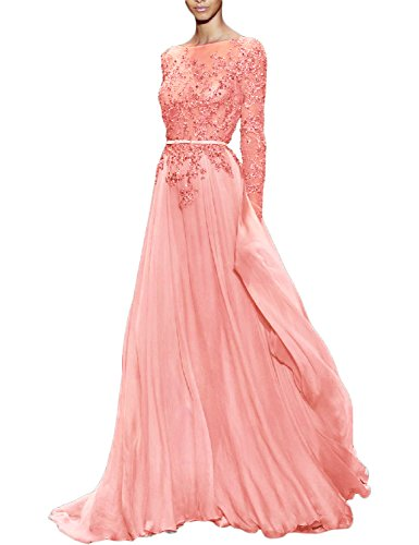 YSMei Women's Long Prom Party Dress Beads Evening Celebrity Formal Gowns Long Sleeve Light Coral 18W
