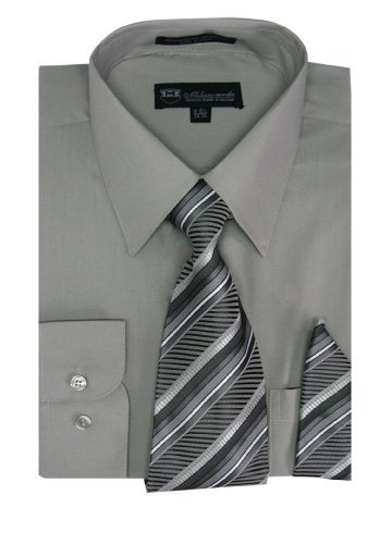 Milano Moda Men's Long Sleeve Dress Shirt With Matching Tie And Handkie SG21A-AshGray-16-16 1/2-34-35 (Best Suit Shirt And Tie Combinations)