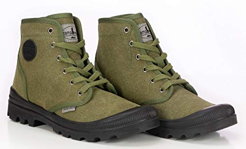 Farm Blue Mens Hiking Boots - Rugged Outdoor Ranger Boot - Waterproof High Top Canvas Trekking Ankle Shoes for Men with Cushioned Insole with Arch Support & Rubber Sole (10, Olive Drab)