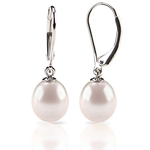 PAVOI Freshwater Cultured Pearl Earrings Leverback Dangle Studs - Handpicked AAA Quality - 10mm