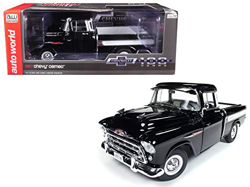 Auto World 1957 Chevrolet Cameo 3124 Pickup Truck Onyx Black 100th Anniversary Limited Edition to 1002 Pieces Worldwide 1/18 Diecast Model Car AMM1145