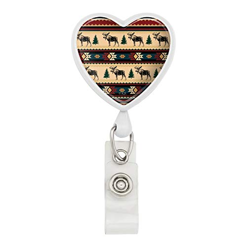 Native American Moose Wilderness Camping Lodge Cabin Heart Lanyard Retractable Reel Badge ID Card Holder - White