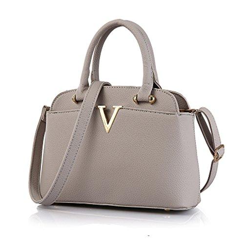 LOMOL Girls Fashion Trendy Elegant Cute Leather Tote Top-handle Handbag Shoulder Bag(Gray)