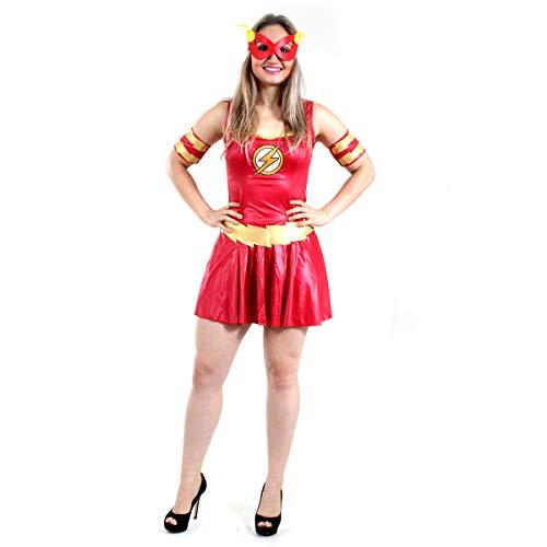 The Flash Fem Heat Girls Adulto Sulamericana Fantasias Vermelho M 42/44