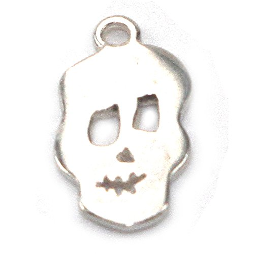 Amoracast AM380 Sterling Silver Skull Charm Jewelry Making Components, 8 x 15mm