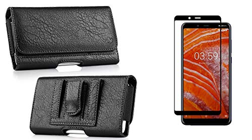 Nokia Carry Case - Luxmo PU Leather Wallet (Card Slot/Coin Holder) Holster Carry Case (Black) for Nokia 3.1 Plus (Cricket Version) with Tempered Glass Screen Protector and Atom Cloth