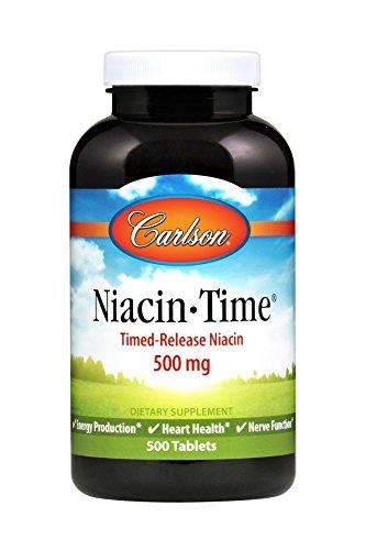 - Carlson - Niacin-Time, Time-Release Niacin 500 mg, Energy Production, Heart Health & Nerve Function, 500 tablets
