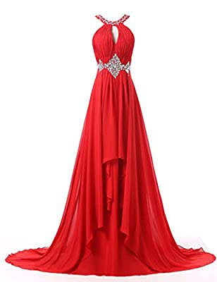 BessDress Beaded Halter Chiffon Bridesmaid Empire Long Prom Dresses BD190