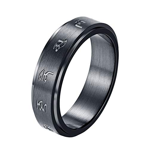INRENG Men's Stainless Steel Tibetan Buddhist Black Mantra Spinner Lucky Ring 6MM Size 10