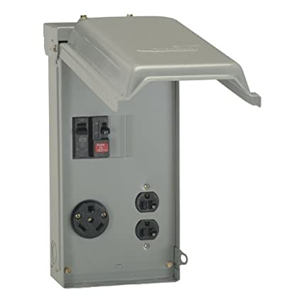 GE 70 Amp Power Outlet Box with Duplex 20 Amp GFCI Outlet and Single ...