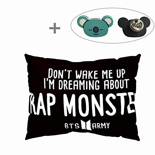 Hosston BTS Pillowcase Kpop Bangtan Boys 50 x 30 cm Soft Velvet Throw Pillow Case with One BTS Cute Brooch Pin Badge Free Best Gift for A.R.M.Y(Style 04-Rap Monster) (Free Case Monster)