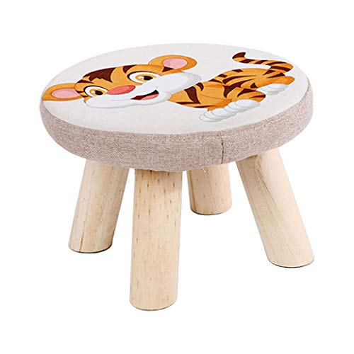(Footstools Ottoman Upholstered Pouffe Round Cute Tiger Pattern Small Chair Stool 4 Wooden Legs Removable Linen Cover 2028cm)