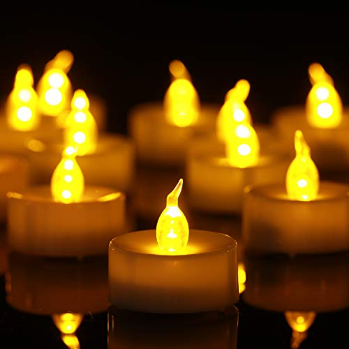 Homemory 100PCS Battery Operated Flickering Flameless Tealight Led Candles, Long Lasting Battery Life, Birthday, Votive, Weddings - Amber Yellow -