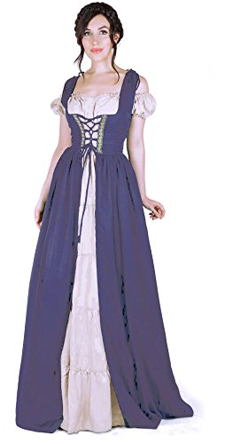 Renaissance Medieval Irish Costume Over Dress & Boho Chemise Set (2XL/3XL, Steel Blue) -