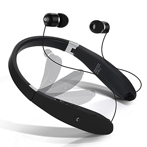 Dostyle Bluetooth Headset Wireless Neckband with Retractable Earbuds Bluetooth Headphones (Black)