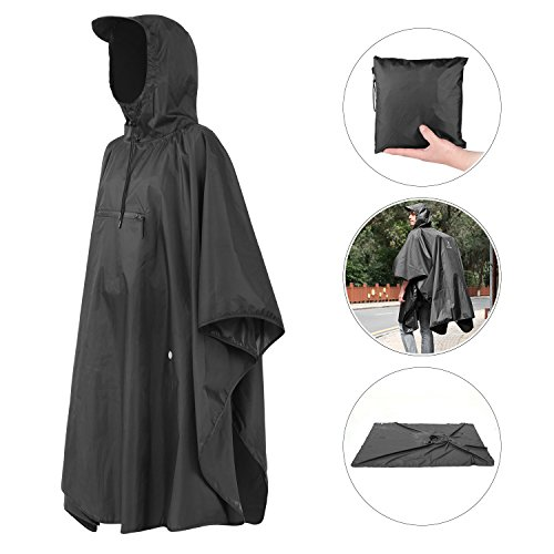 Andake Multipurpose Rain Poncho, Waterproof Ground Mat Portable Raincoat with Hoods and Water-resistant Zip Pocket (S/M, (Multi Purpose Poncho)