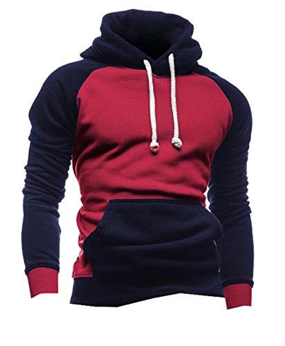 MLG Men's Trendy Drawstring Color Blocked Hoodies Sweatshirts Red 2XL