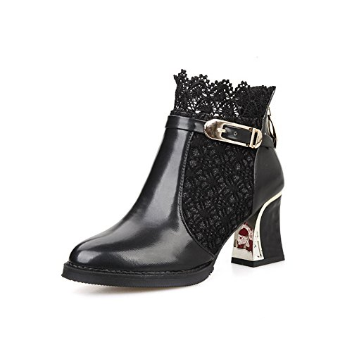 Ladies Lace Imitated Heels Black Chunky 1TO9 Leather Buckle Zipper Boots vdfqqOH