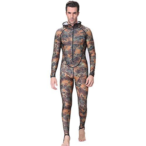 Fishing Couple Suit Camo Skin Dive Wetsuit One Piece with Hood Jump UV Protection Men Diving Suit M