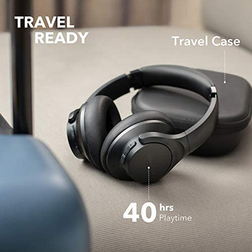 Anker Soundcore Life Q20 Bluetooth Headphones with Travel Case, Hybrid Active Noise Cancelling, 40H Playtime, Wireless Over Ear Headphones for Travel, Work (Black) 417OWcJmtPL