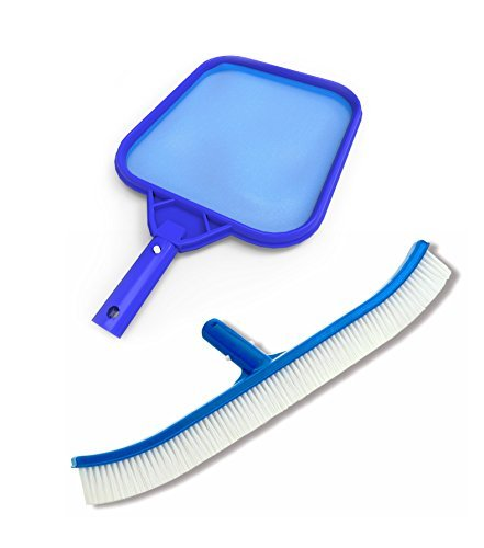 Anthony Pool (Swimming Pool Brush and Leaf Skimmer Effortlessly Cleans Walls, Corners, Steps and the Surface - Professional Heavy Duty Maintenance Kit)