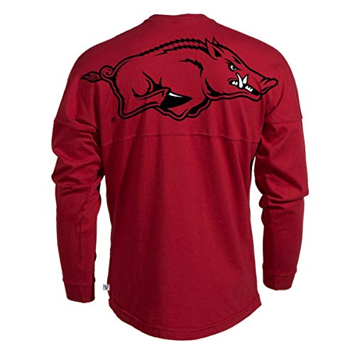 - Official NCAA University of Arkansas Razorbacks GO BIG RED HOGS! Arkansas Fight! Women's Long Sleeve Spirit Wear Jersey T-Shirt