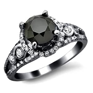 Front Jewelers 1.95ct Black Round Diamond Engagement Ring