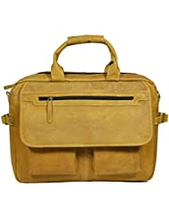 ADIMANI Genuine Leather Office Executive Laptop Messenger Bag Size (18x13 inches)