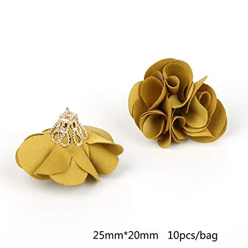 Dalab !!Fashion 10pcs/lot Small Satin Ribbon Bone Flower Multiple Flowers Dia 25mm for DIY Kids Hair Accessories Garment - (Color: ()