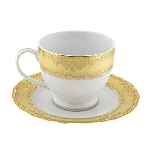 10 Strawberry Street VAN-9G6 Vanessa Ballet Cup/Saucer, Set of 6, White/Gold
