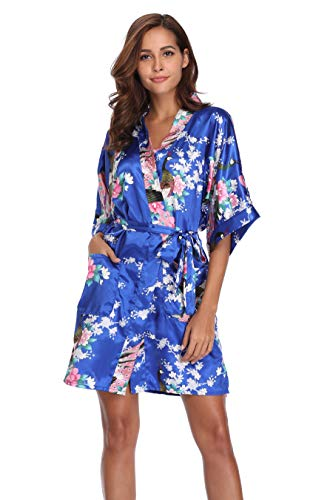 Mignon Cromwell Women's Short Bridesmaids Robe Floral Satin Kimono Dressing Gown with Pockets, Royal Blue, -