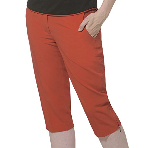 Monterey Club Ladies Stretchable Peach Twill Capri #2823 (Salmon Pink, Size:10) (Salmon Peach)